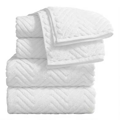 White Chevron Spa Towel Collection