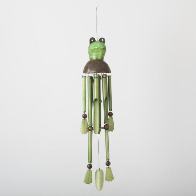 Green Frog Bamboo Wind Chime