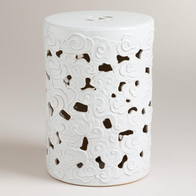 Tibetan Cloud Ceramic Drum Stool
