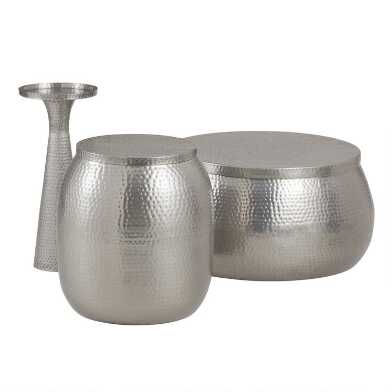 Silver Hammered Metal Cala Accent Table Collection