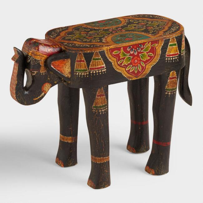 Hand Painted Wood Elephant Accent Table