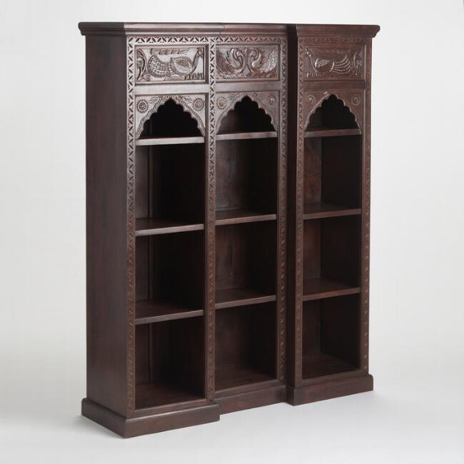 Brown Carved Wood Peacock Bookshelf World Market