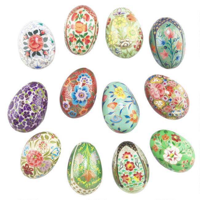 Multicolor Floral Paper Mache Eggs Set Of 12