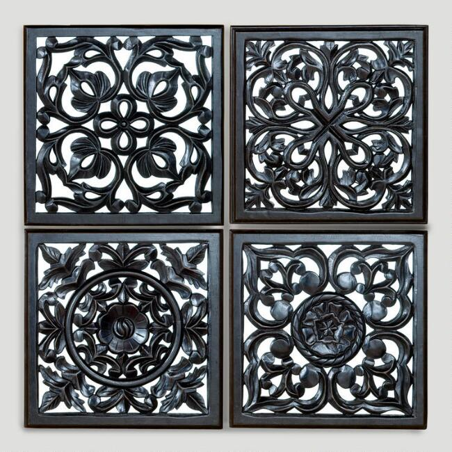 Mirrored Carved Plaque, Set of 4