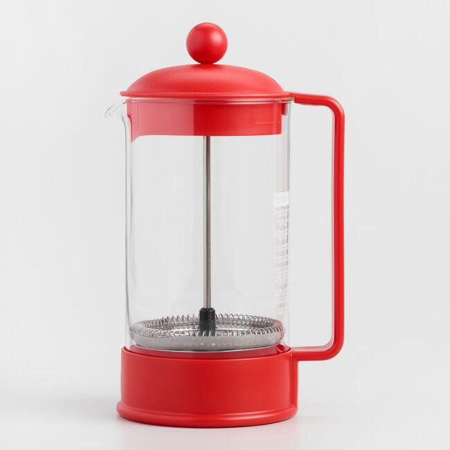 Red Bodum Brazil French Press Coffee Maker