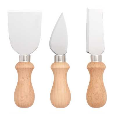 Wood and Metal Cheese Knives 3 Piece Set