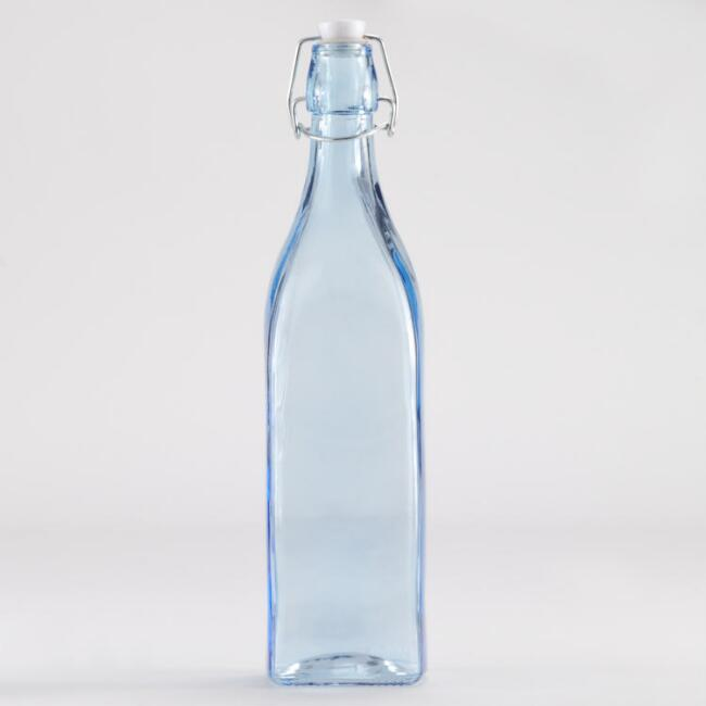 shoptagr blue glass bottle with clamp lid by world market