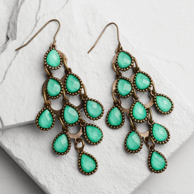 Turquoise Crystal Chandelier Earrings