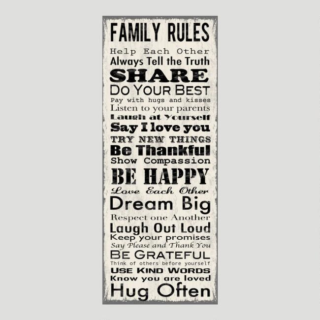 Family Rules Canvas Wall Art Decal | World Market