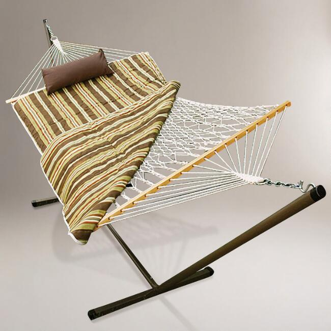 Cotton Rope Single Hammock with Brown Striped Pad and Stand
