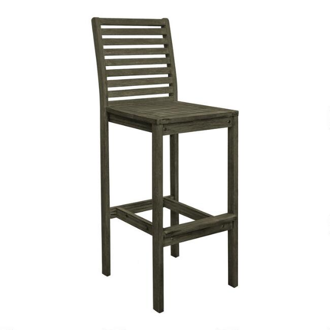 Distressed Gray Wood Thomas Outdoor Barstool