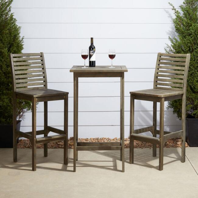 Distressed Gray Wood Thomas Outdoor Pub Dining Collection