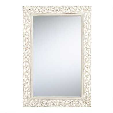 Whitewash Carved Wood Segovia Mirror