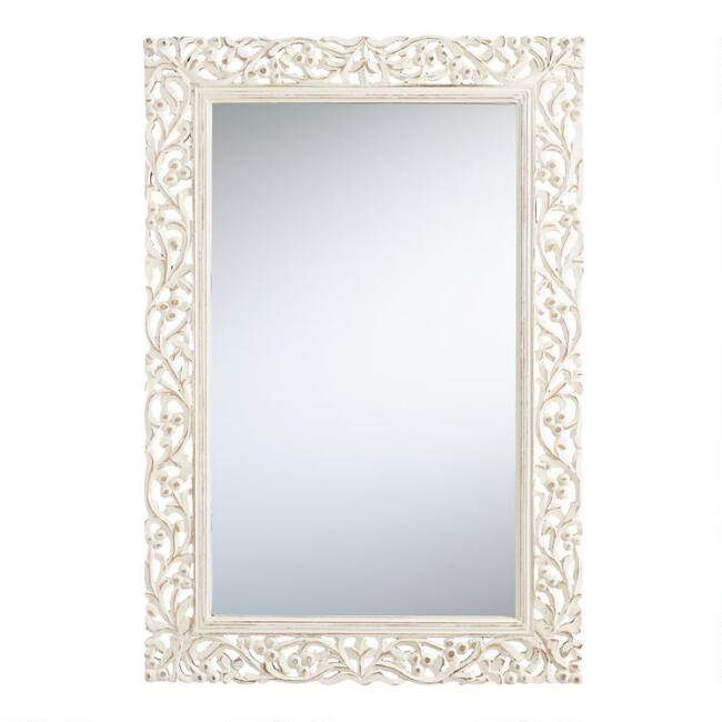Segovia whitewashed mirror world market - White wood framed bathroom mirrors ...