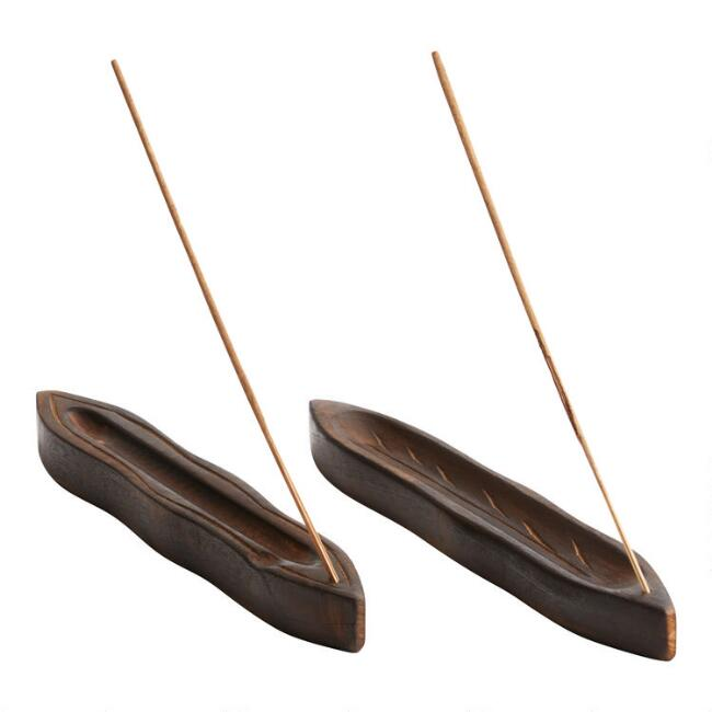 Wood Leaf Incense Burner Set of 2