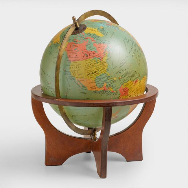 Green Globe with Brown Wood Stand