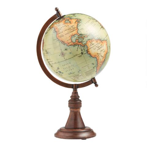 28a7663f755d2 Antique Green Globe with Brass Stand. v1