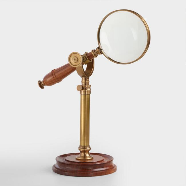 Wood and Metal Magnifying Glass on Stand