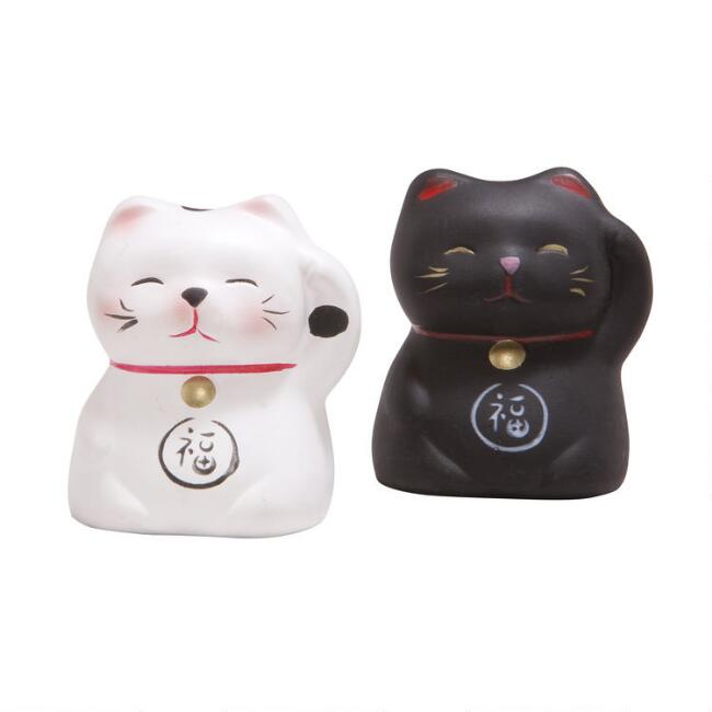 Ceramic Lucky Cat Figures Set of 2
