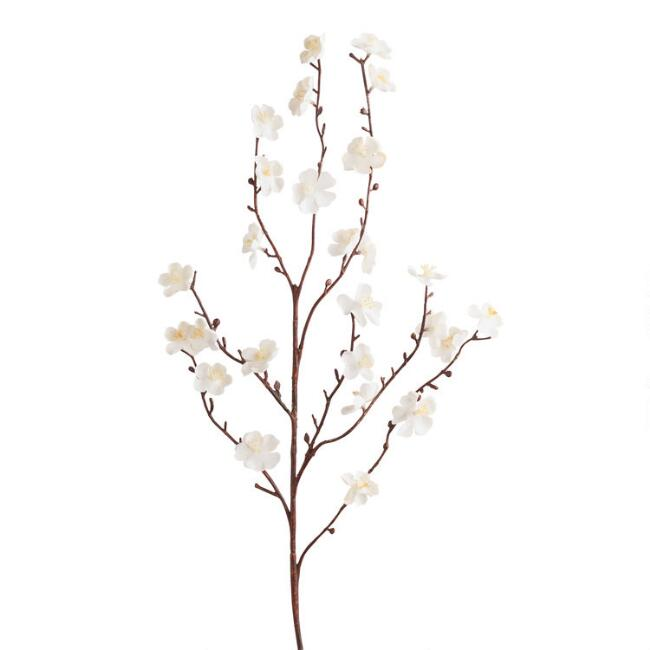 Faux White Velvet Plum Blossom Stems Set of 2