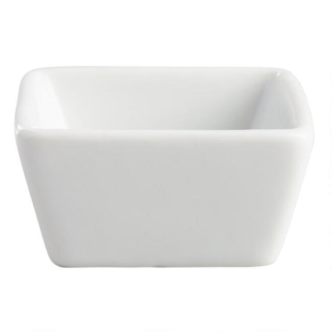 Mini Square White Porcelain Tasting Bowls Set Of 8
