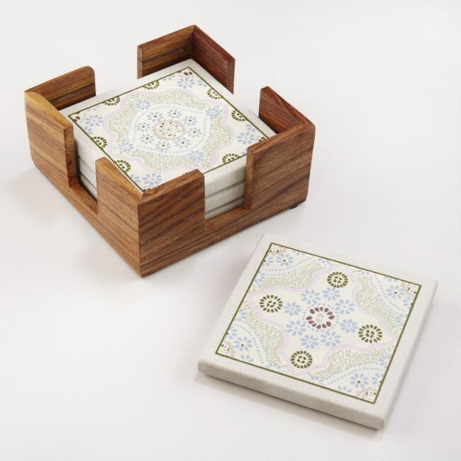 Mosaic Sandstone Coasters with Holder