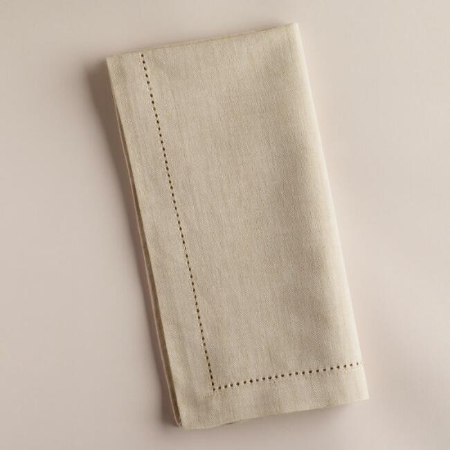 Parchment Hemstitch Napkins, Set of 4