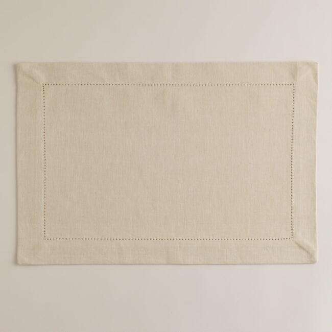 Parchment Hemstitch Placemats, Set of 4