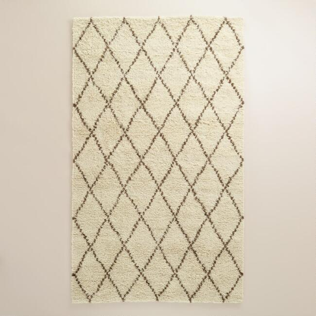Ivory Moroccan-Style Shag Rug