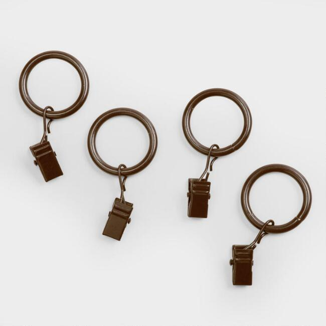 Walnut Curtain Rod Clip Rings, Set of 10