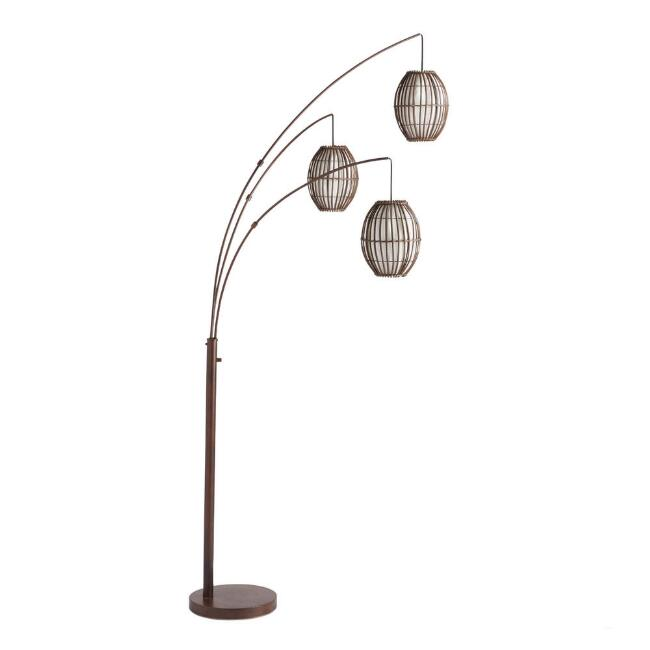 Brown 3 Light Adjustable Tiki Arc Floor Lamp