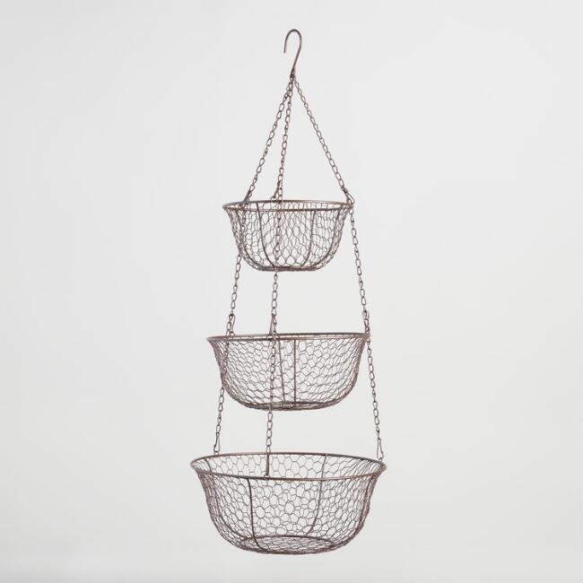 Rustic Wire 3 Tier Hanging Basket
