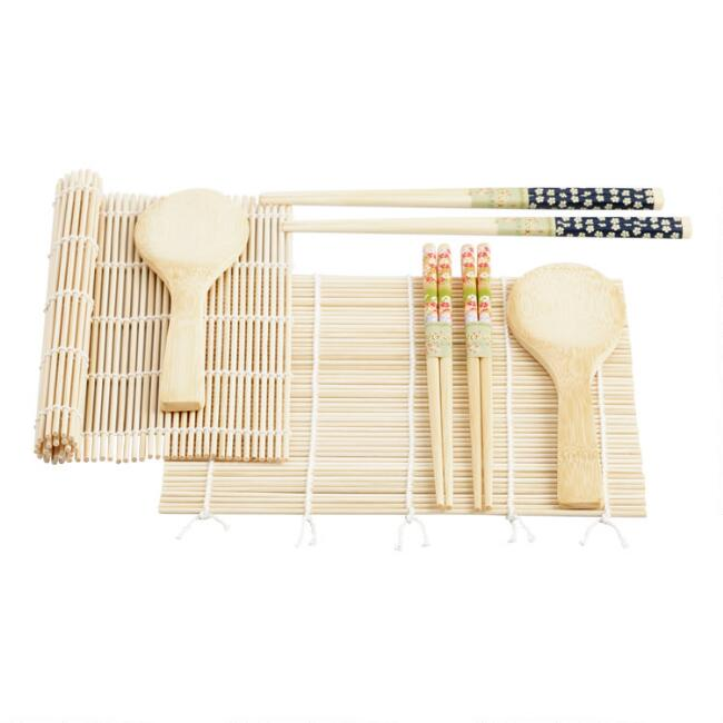 3-Piece Bamboo Sushi Sets, Set of 2