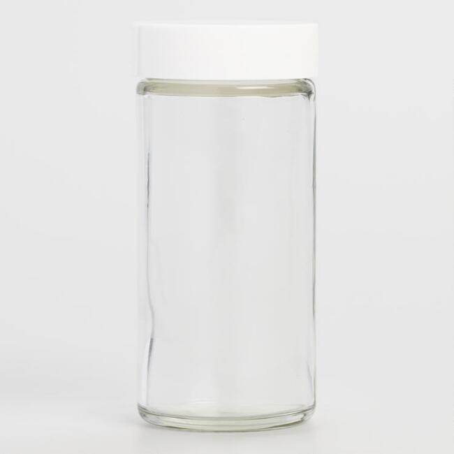 Glass Spice Jars with White Lids Set of 6