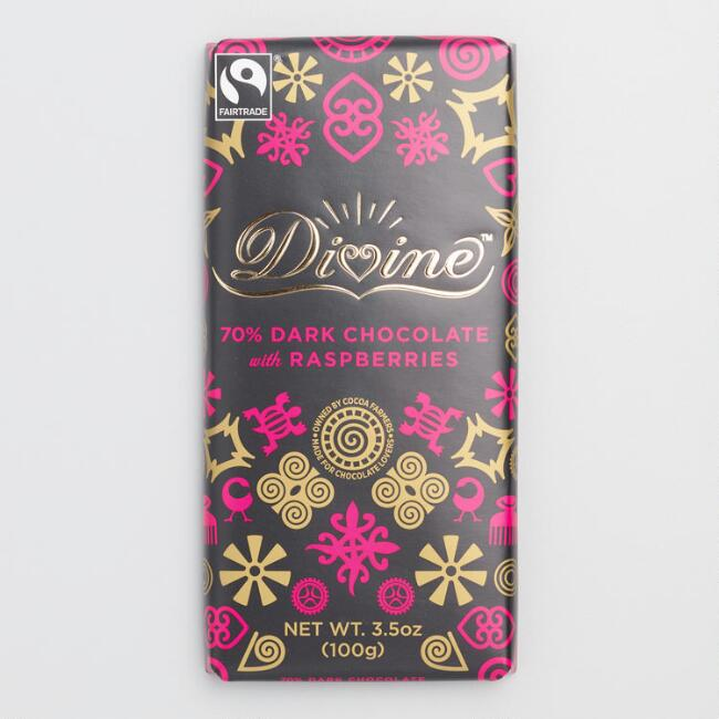 Divine 70% Dark Chocolate with Raspberries, Set of 2