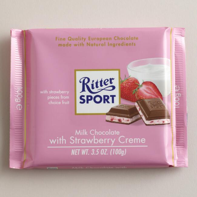Ritter Sport Milk Chocolate with Strawberry Creme, Set of 12