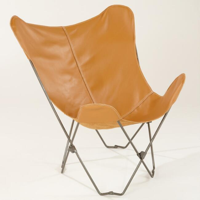Camel Leather Butterfly Chair