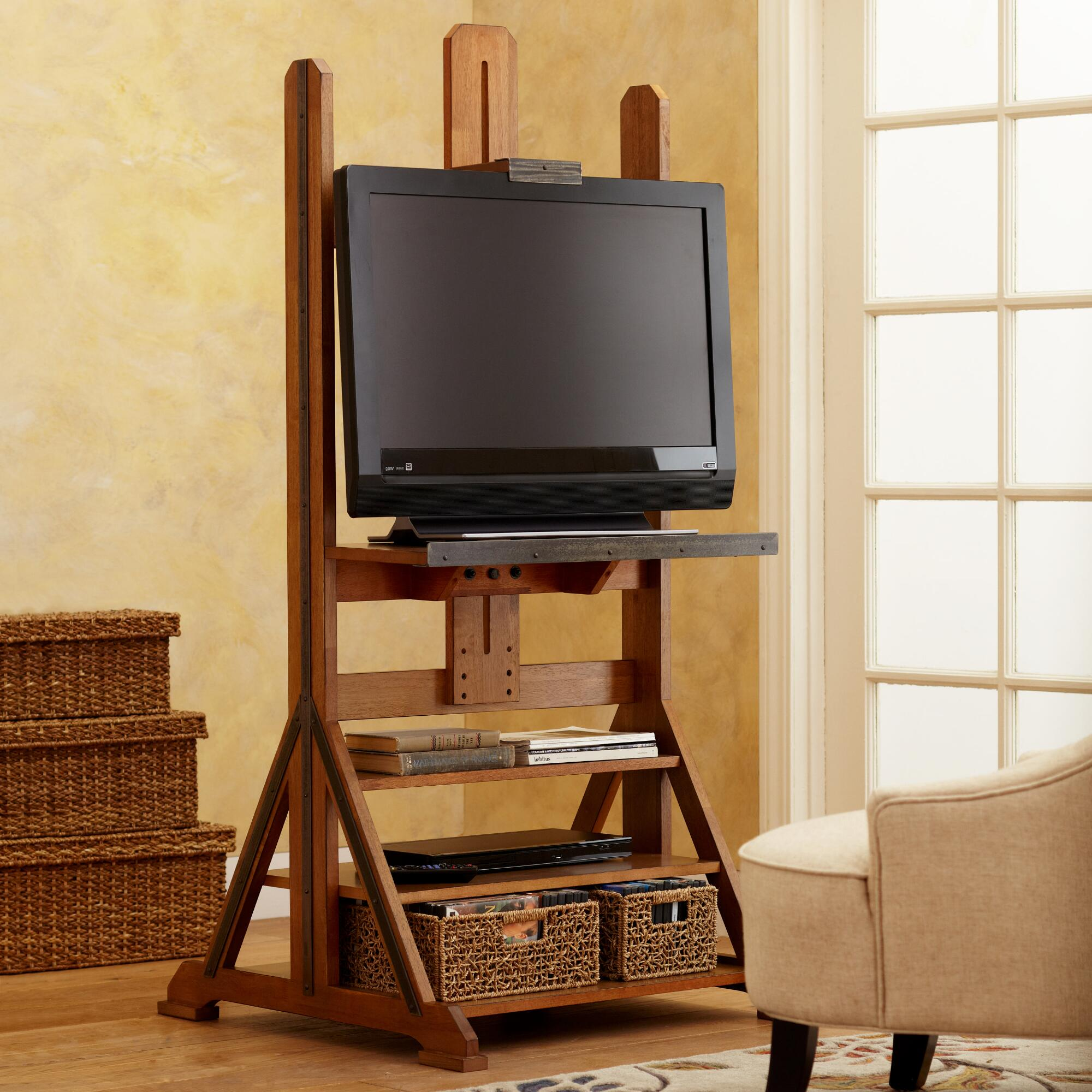 Flat Screen Tv Console Easel Media Stand World Market