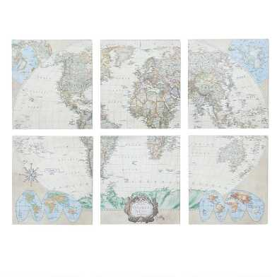 World Map Canvas Wall Art 6 Piece