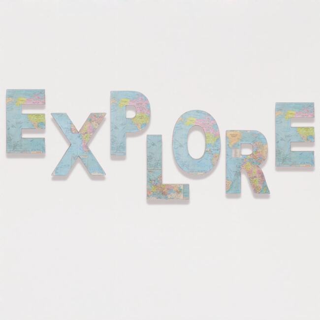 'Explore' Paper and Fabric Letters, Set of 7