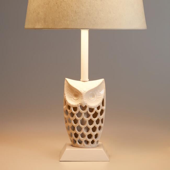 White Owl Accent Lamp Base
