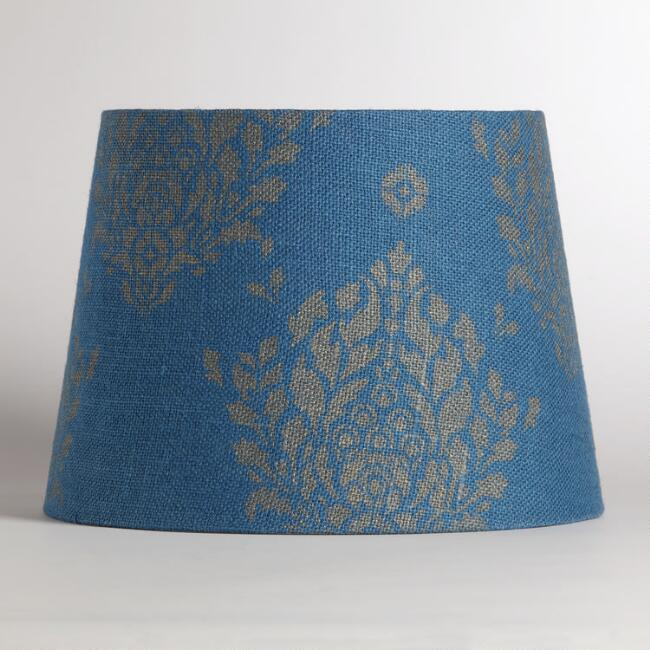 Blue Burlap with Metallic Print Table Lamp Shade