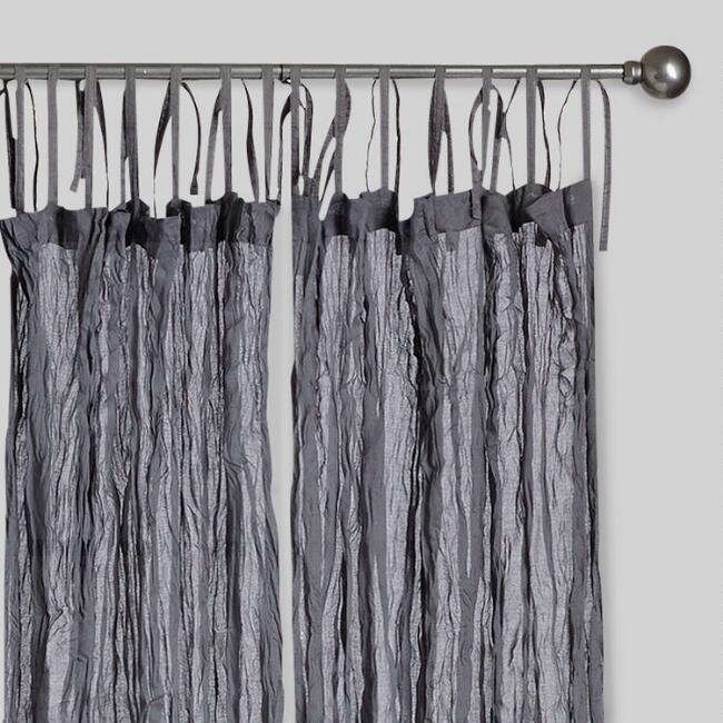 Gray Crinkle Voile Cotton Curtains, Set of 2
