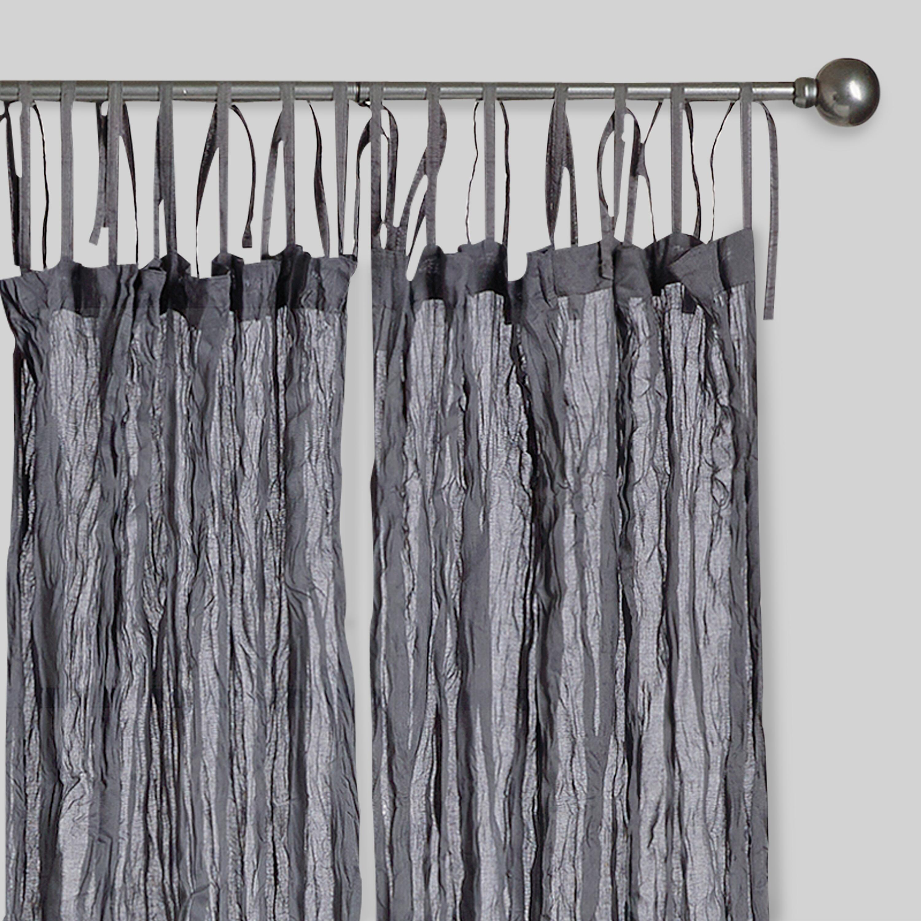 """Gray Crinkle Voile Cotton Curtains, Set Of 2 - 84"""" L"""