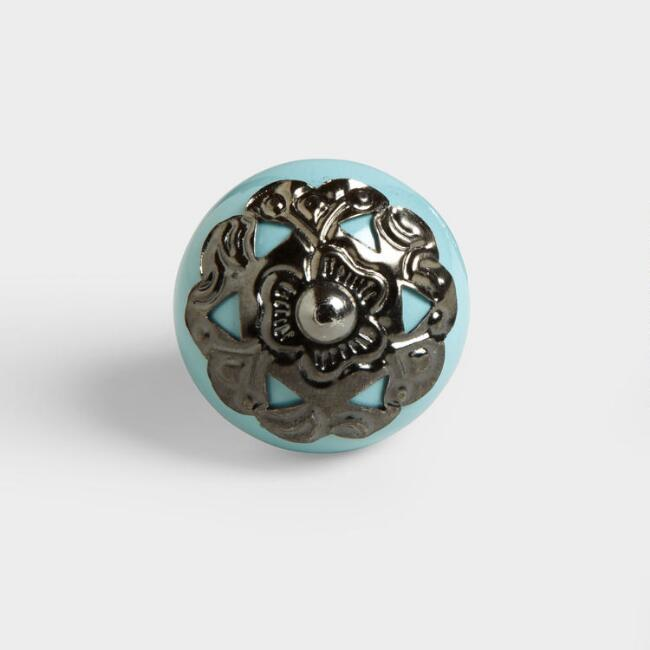 Turquoise Ceramic and Metal Knobs, Set of 2