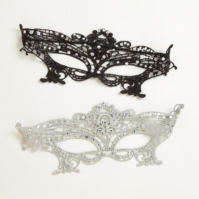 Silver and Black Lace Masks, Set of 2
