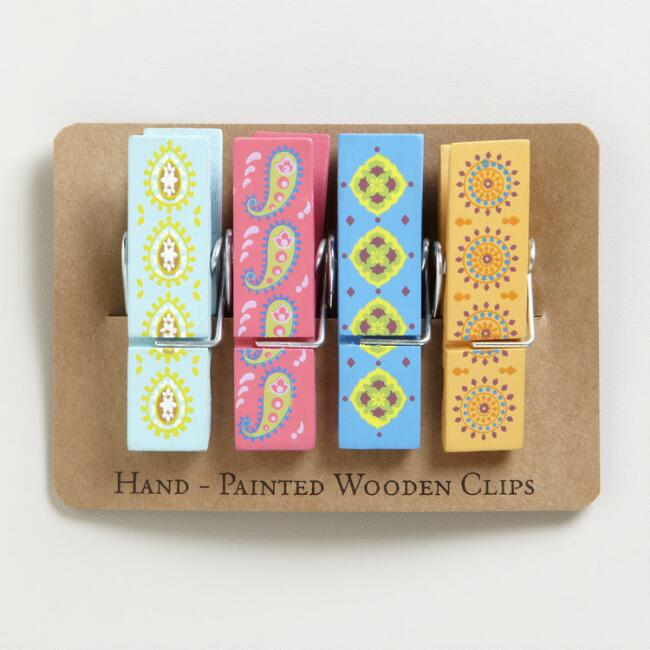Wooden Paper Clips Set Of 4