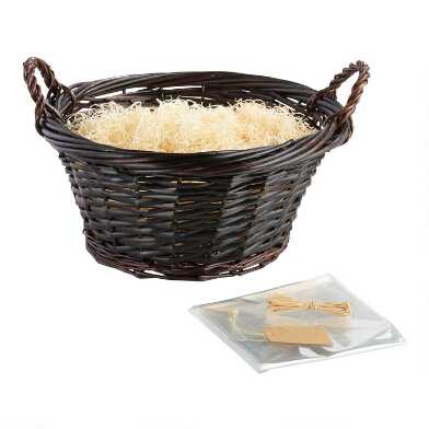 Large Round Dark Brown Gift Basket Kit