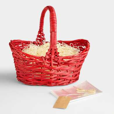 Red Gift Basket Kit With Handle