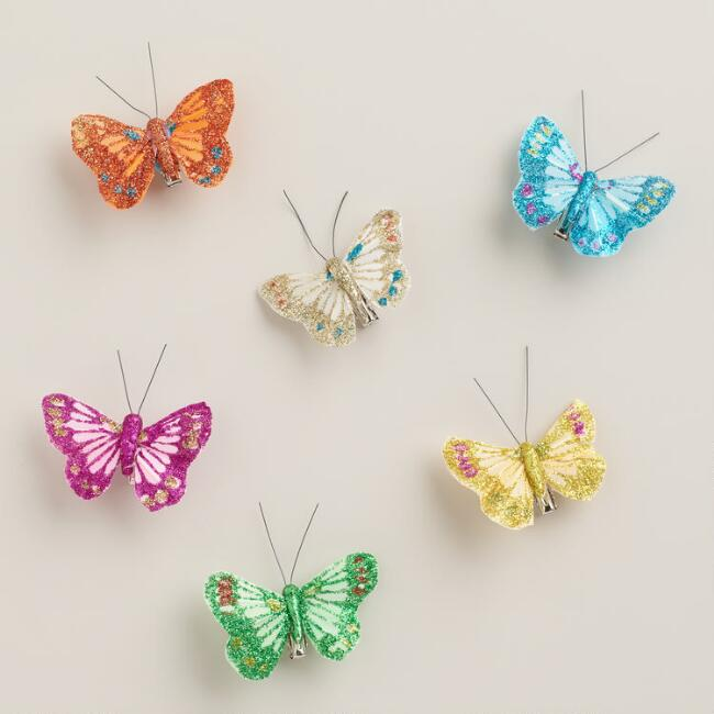 Glitter Butterfly Clips, 6-Pack